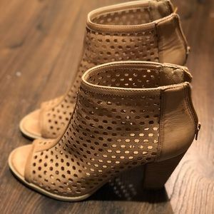 Report Tan Peep Toe Booties